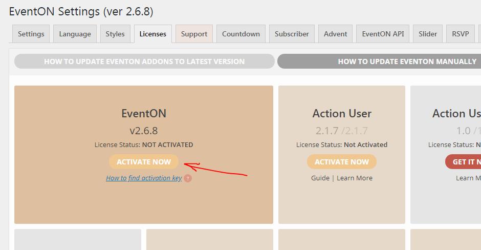 How to activate EventON - Documentation